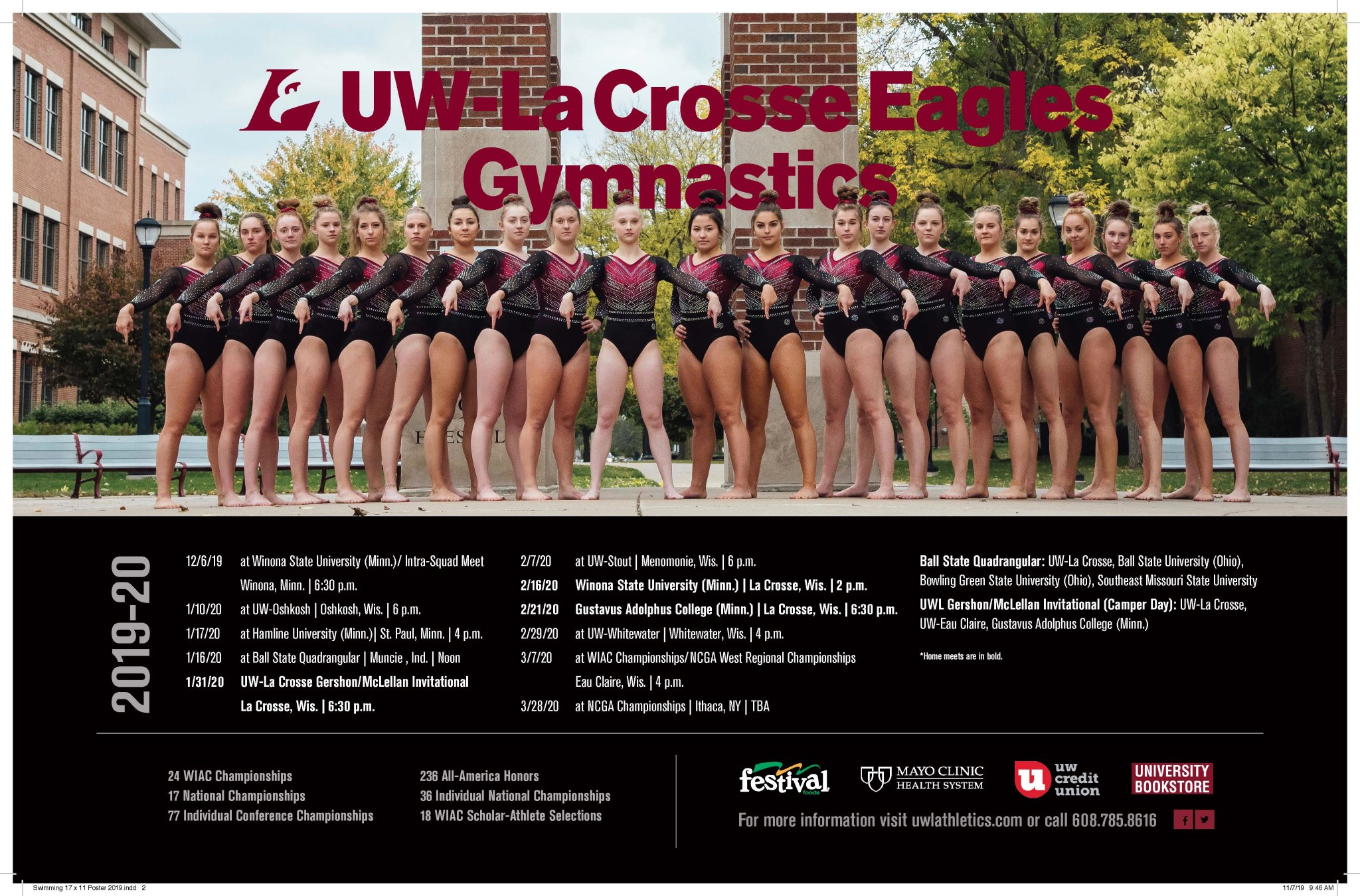 Uwl Athletics On Twitter Check Out The 2019 20 Uwlgymnastics Poster Uwl Starts The Season December 6 With An Intra Squad Meet At Winona State University Go Eagles Https T Co Ziorsf2mhn
