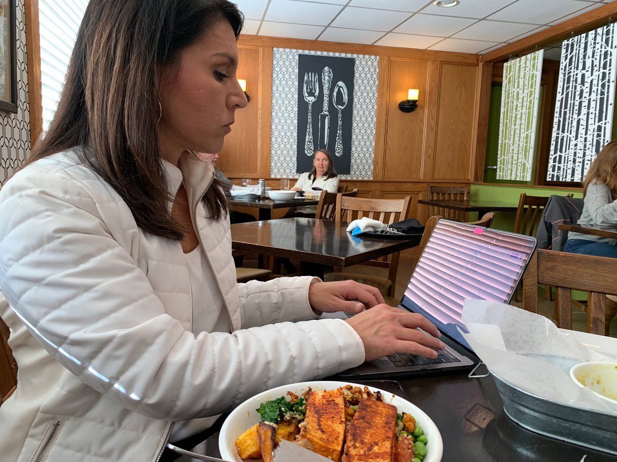 Focused. Multitasking. Working on a deadline. Thanks to Black Forest Cafe in Amherst for this delicious Buddha Bowl lunch! #tulsi2020 #FridayFeeling