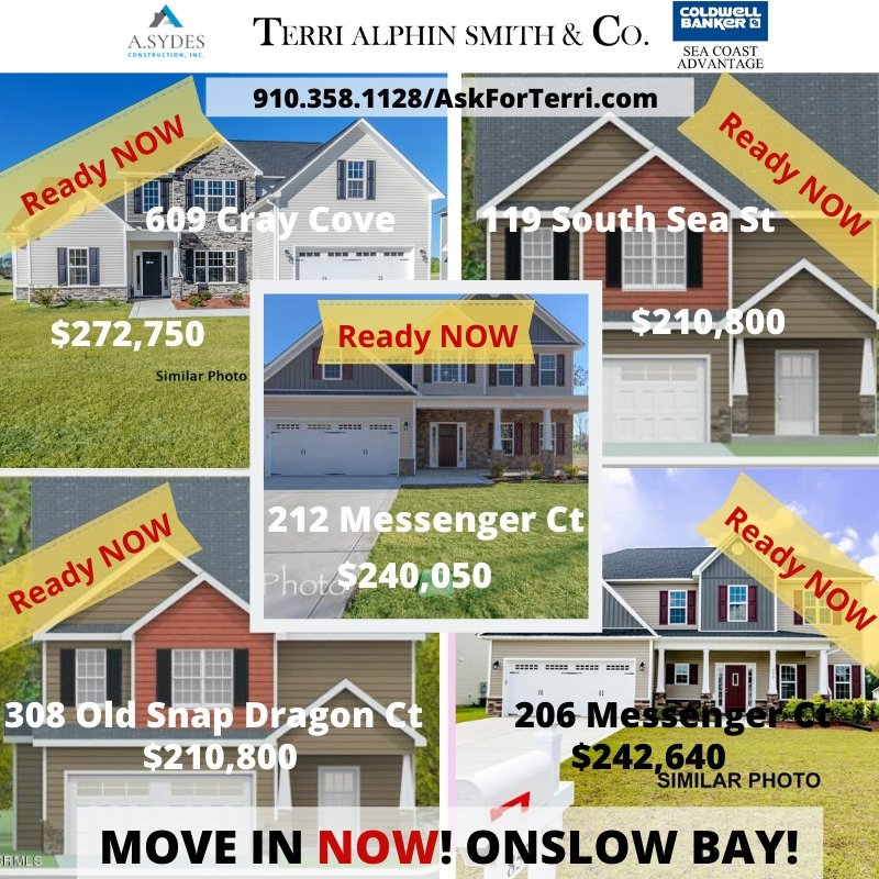 READY TO MOVE IN NOW, NEW CONSTRUCTION HOMES!  Call 910.358.1128 for more information! #NewConstruction #newhomes #MoveInReady #TerriAlphinSmithandCo #JacksonvilleNC #NorthCarolina<br>http://pic.twitter.com/L3D90iUVMJ