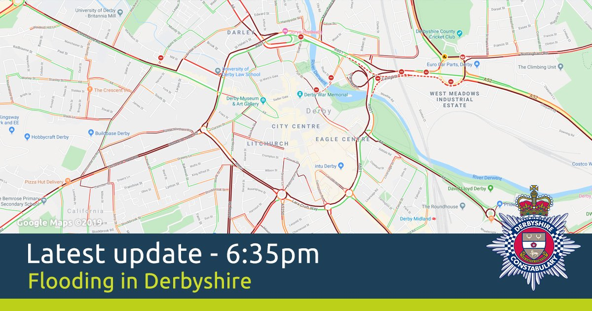 The #A52 westbound from the Pentagon is currently impassable due to flooding, any traffic heading in this direction will be diverted either towards Chaddesden or back on to the eastbound carriageway of the A52.