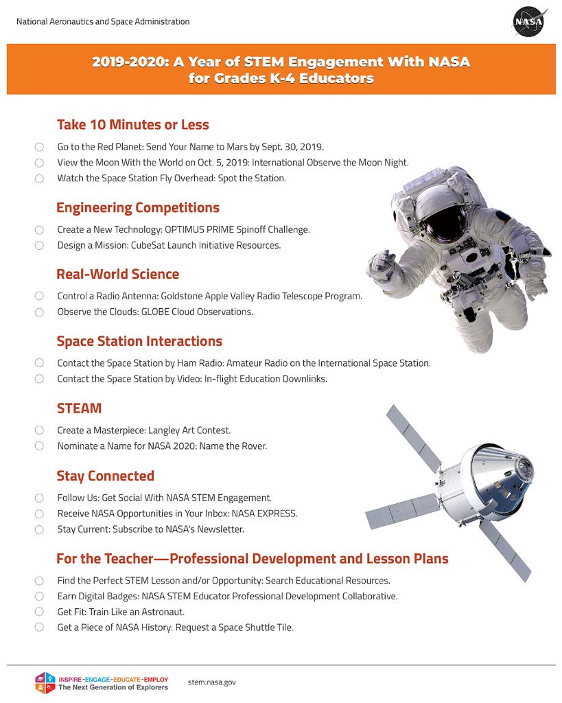 """#NationalSTEMDay is almost over  but keep the fun going all year long!   We've got printable """"Year of STEM Engagement"""" lists to keep you active with @NASA activities to make every day STEM Day!   K-4:  https:// go.nasa.gov/2C4SPQu     5-8:  https:// go.nasa.gov/2N6if6N    <br>http://pic.twitter.com/cKiXuIjT59"""