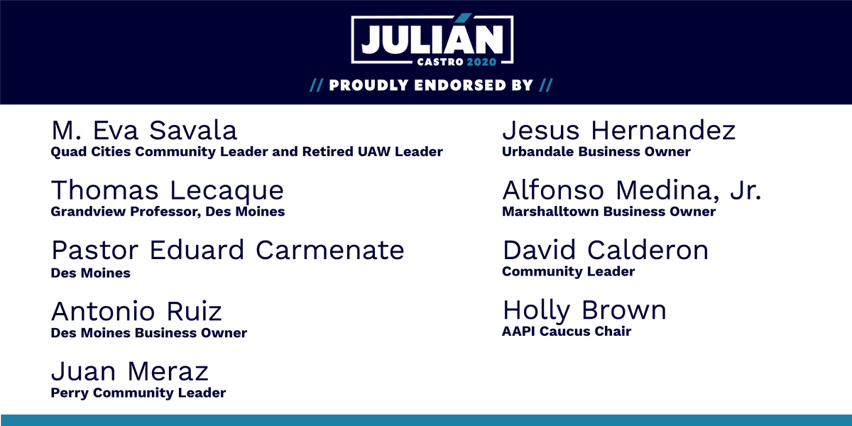 I am honored by the support of these leaders from every corner of Iowa who will be true partners in our fight to ensure all Iowans and all Americans have a seat at the table.