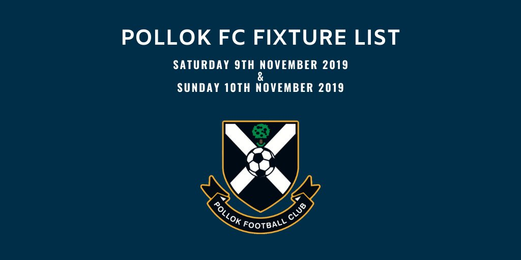 Comprehensive fixture list this weekend for the Seniors and all the Academy Teams.  Let's Go!  @pollokfc21s @PollokJuvs @pollokunitedfc @pollokunited03 @pollokfc21s @Pollokutd2010S @putd09 @pollokfc @PollokUtdS_A @2008Pollok @ScottishYouthFA  @PJDistrictYFL #mtln https://t.co/SdggaYUCQ4