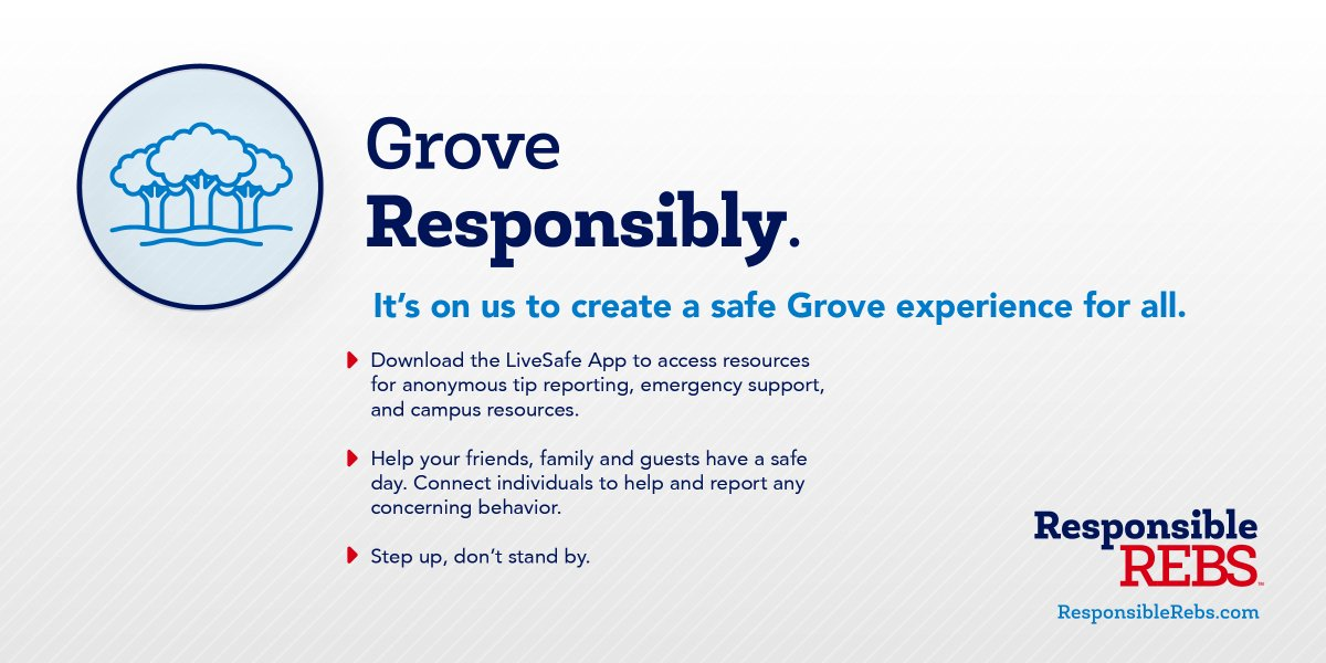 Let's make the Grove a safe, fun experience for everyone. Be sure to download the LiveSafe app and report any concerning behavior — olemiss.edu/livesafe #ResponsibleRebs