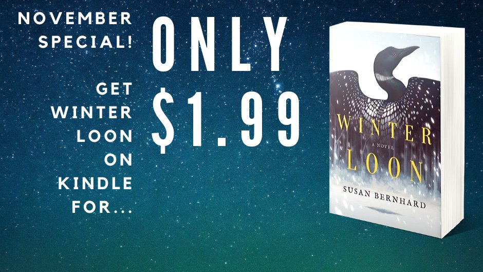 Darker days, colder nights, perfect for curling up with a new book! If you read on a Kindle, WINTER LOON is on sale through the end of November. #kindledeals #amreading #weekendreads (Obligatory promo card...)