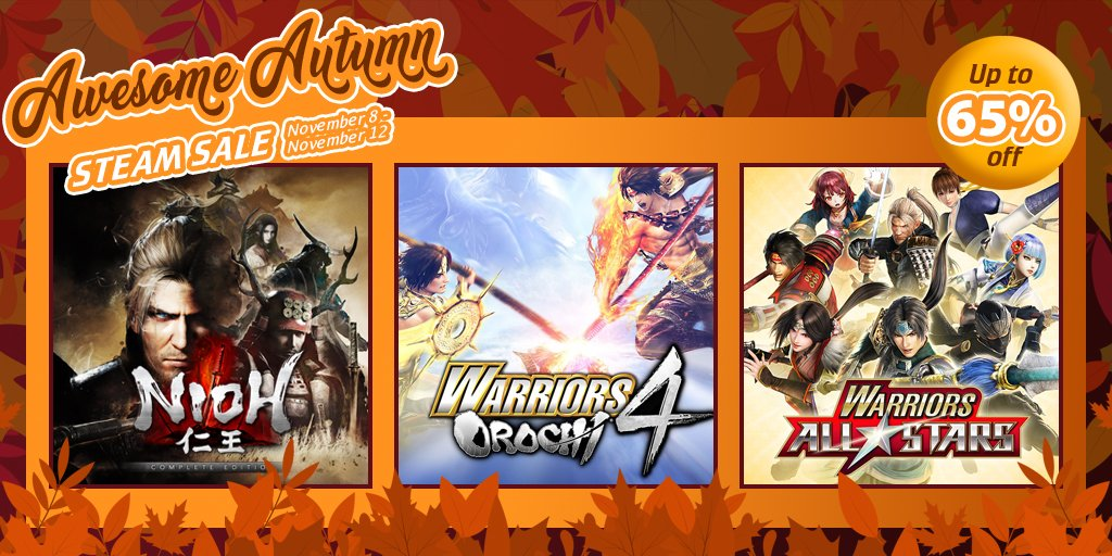 Save up to 65% on select Steam titles~!   #NiohCE #WO4 #WarriorsAllStars #AtelierArlandDX Bundle (and individual games!)    #KTfamily #SteamSale
