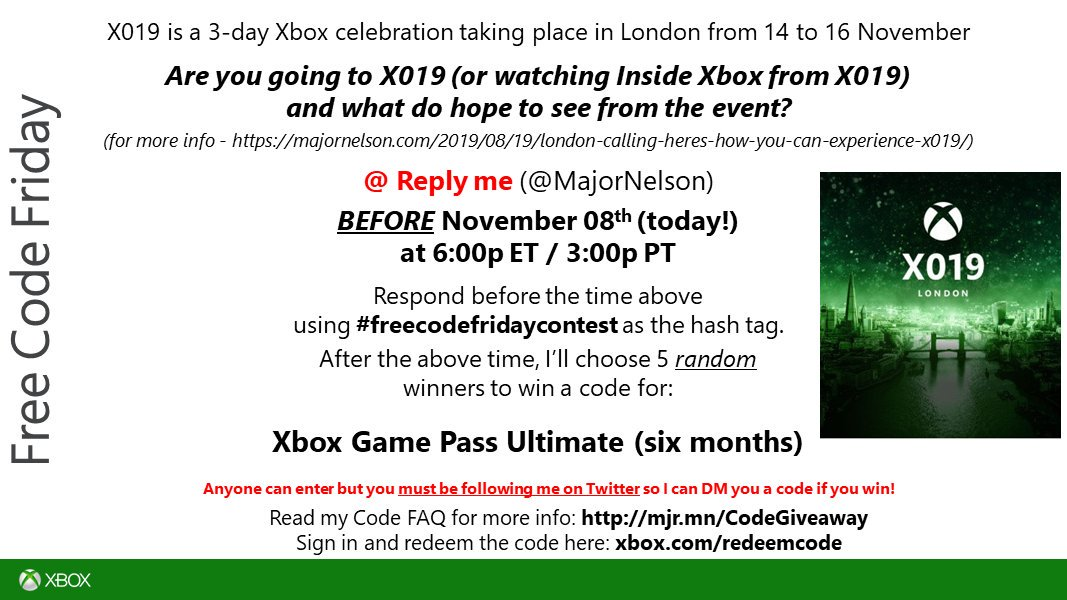 #freecodefridaycontest time. Read this and you could win a code for six months of Xbox Game Pass Ultimate on Xbox One. Good luck.