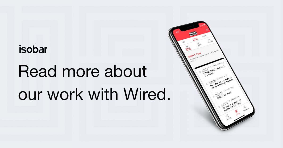 As @WIRED's Digital Experience Agency we connected readers with WIRED through the GetWIRED app. Learn about the work here: http://bit.ly/2WTIKzC