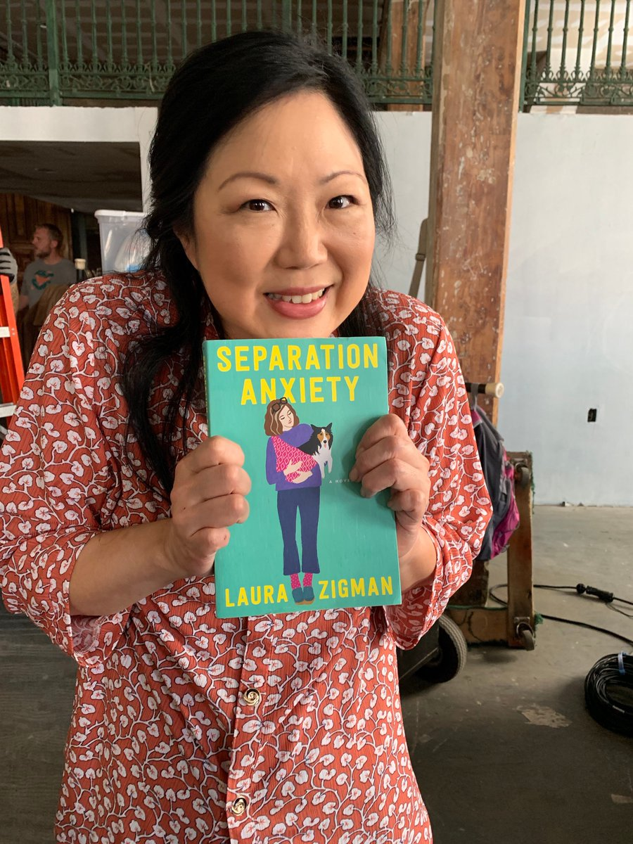 """Did you listen to the #SVU podcast """"The Squadroom""""—and hear @margaretcho's puppers Lucia? She carries her sweet boo in a sling! —just like on the cover of my dear friend @LauraZigman's new book ❤️"""