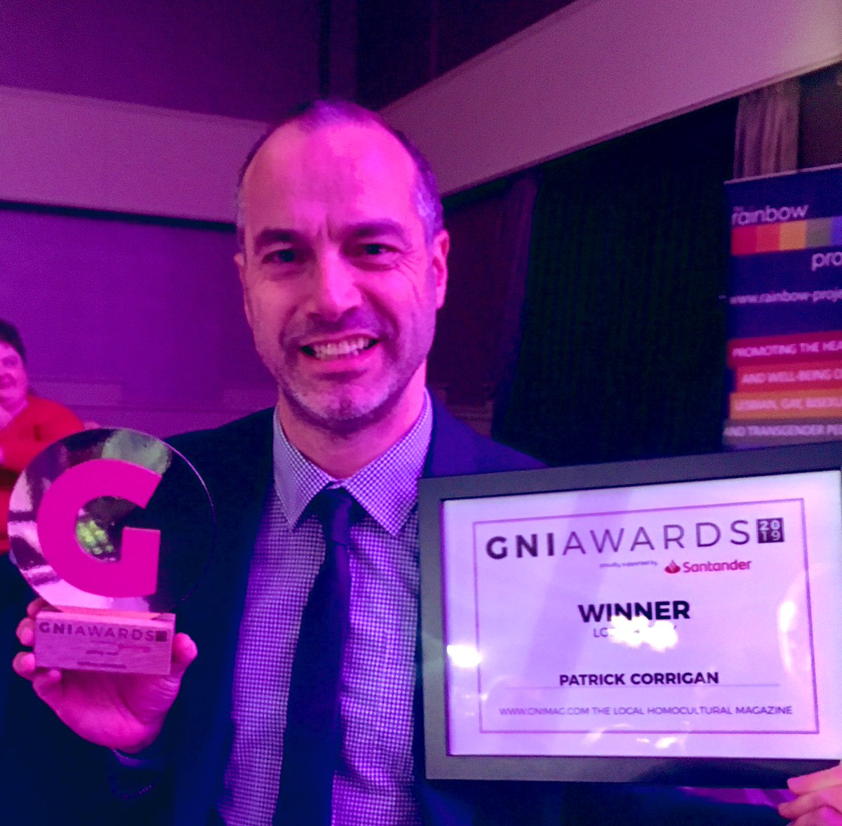 Chuffed to win the LGBTQ+ Ally of the Year at the #GNIawards in Belfast. Thanks to everyone who voted! ❤️ 🏳️🌈 😍