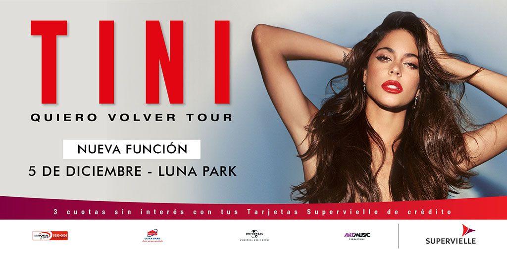 #QuieroVolverTour sin fin en el #LunaPark!!! @TinitaStoesel #Tini agrega otra función más! 05 de diciembre 20 hs.. Entradas a la venta por sistema Ticketportal, y desde mañana en boletería del estadio, saludos!