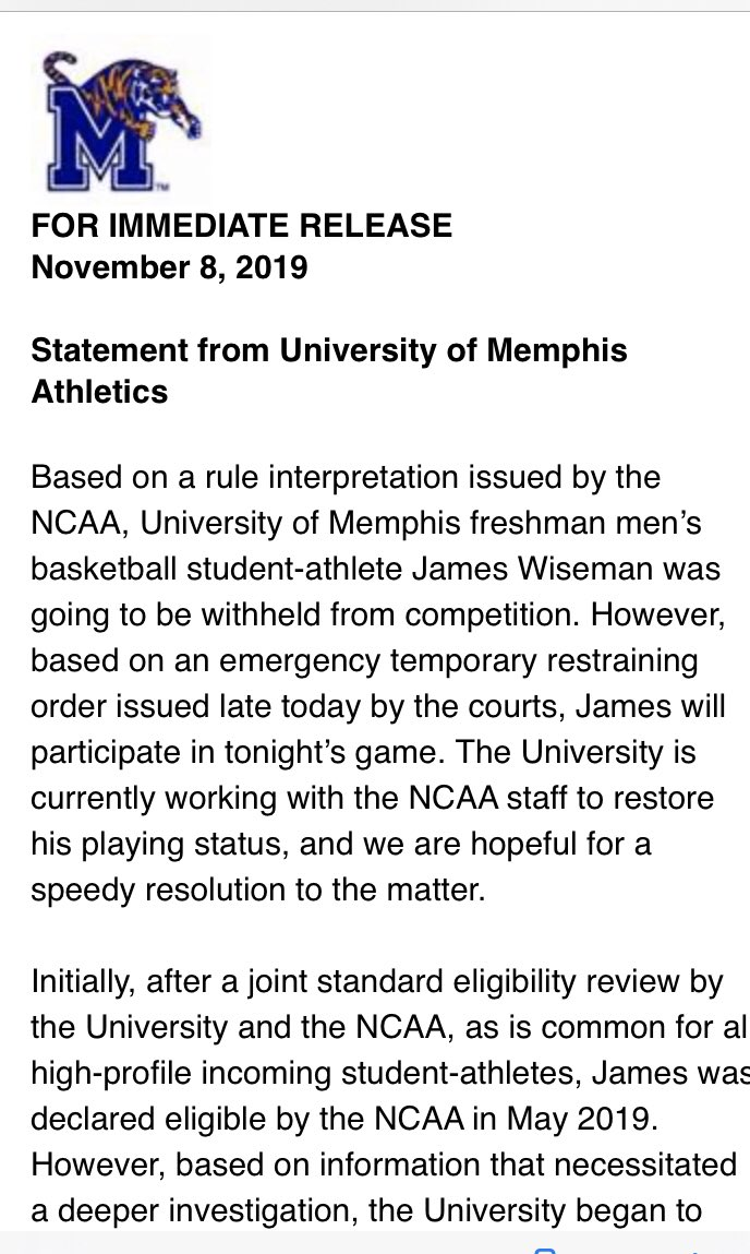 Memphis gets TRO for star freshman James Wiseman to play