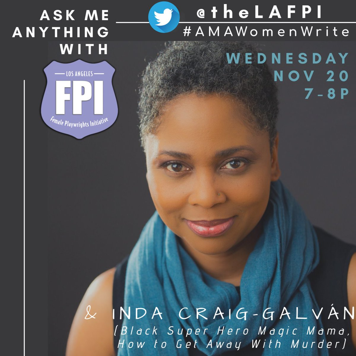 ⚡️ Don't miss our first Ask Me Anything #AMAWomenWrite on Wednesday, Nov. 20 from 7:00 PM to 8:00 PM PST! ⚡️ This AMA will feature award-winning playwright @IndaCraigGalvan -- hop into the chat at 7 PM PST to ask Inda Qs about her writing process, inspiration, and more.