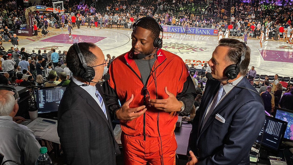We told ya it was happening.  @DwyaneWade is spending the 3rd quarter with your favorite Miami HEAT broadcast team here in LA.