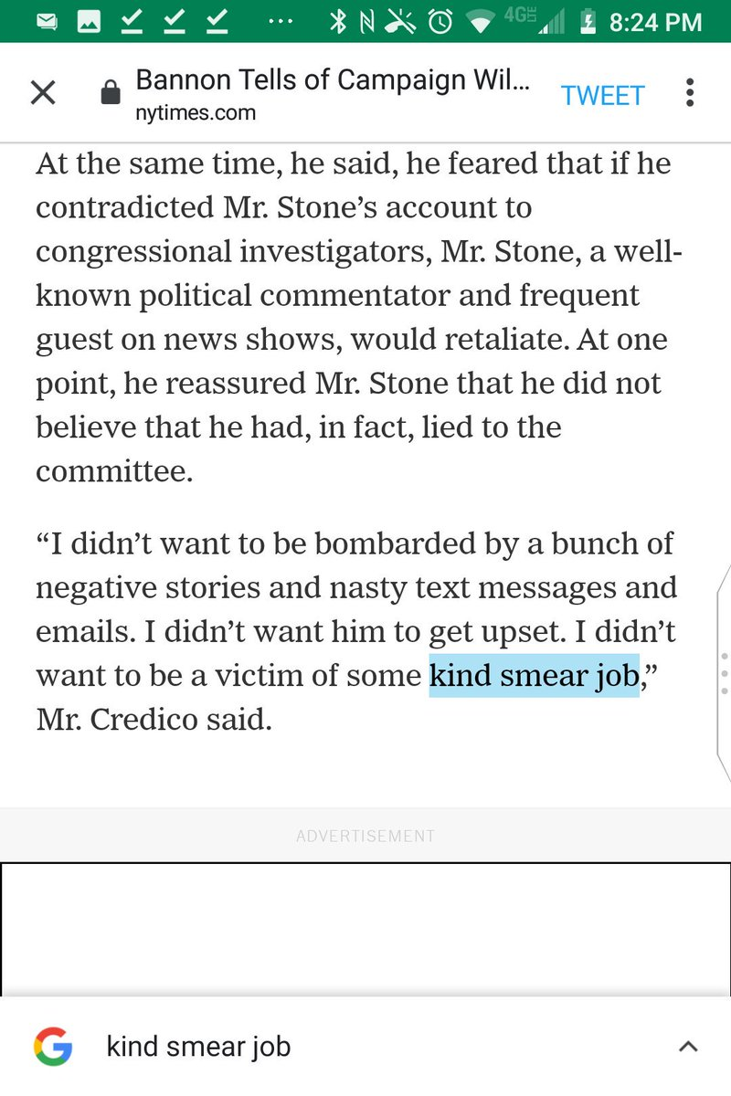 "Every other outlet quotes Credico as fearing ""some kind of smear job,"" not the gibberish ""some kind smear job,"" so you're probably misquoting him.  @SharonLNYT"
