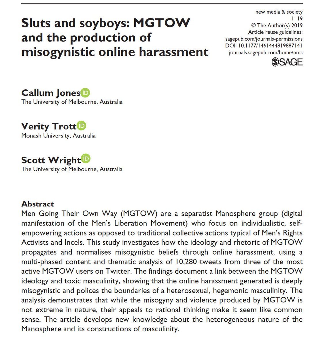 Sluts and soyboys: New research on Men Going Their Own Way (MGTOW) online, based on analysis of 10,000+ tweets, documents their misogyny (women-hating and sexism), online harassment, and policing of the boundaries of traditional heterosexual masculinity. journals.sagepub.com/doi/full/10.11…