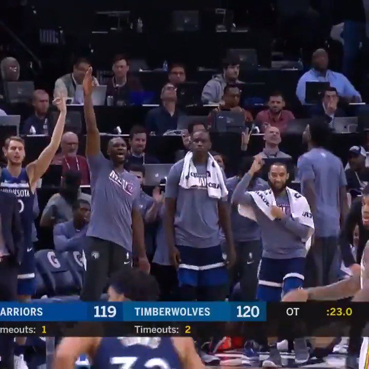 👀 @22wiggins (40 PTS) & @Dloading (52 PTS) duel as the @Timberwolves top GSW in an OT thriller in Minneapolis! https://t.co/LPmin1MLPK