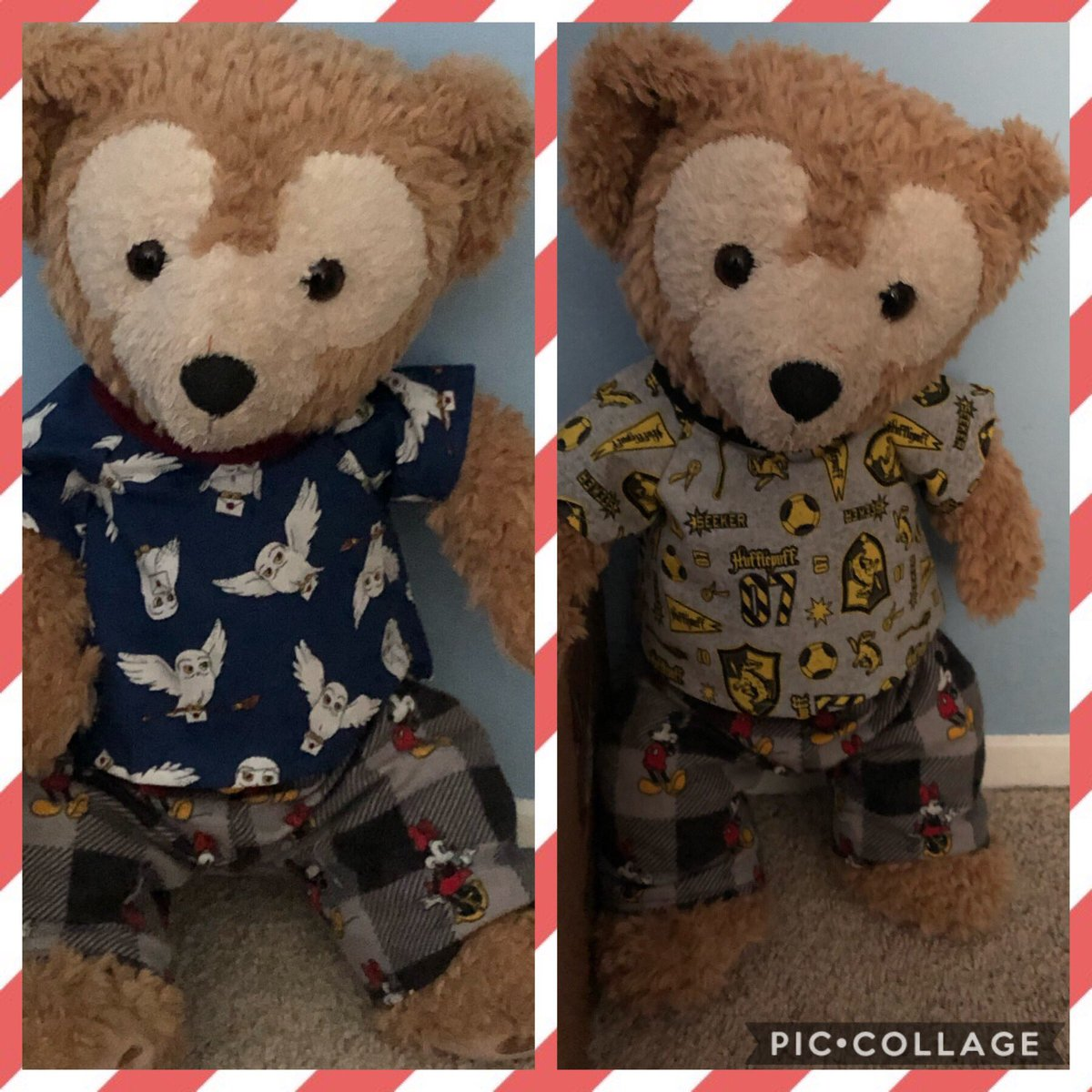 Duffy the Disney bear is looking super magical with his new Harry Potter shirts both me and Duffy are in Hufflepuff 💛🖤💛 and we hope the magical owl on his shirt Will bring me my Hogwarts letter 🦉 🧸🦉 @CraftyShellie #duffythedisneybear #hufflepuff #Harrypotterforever