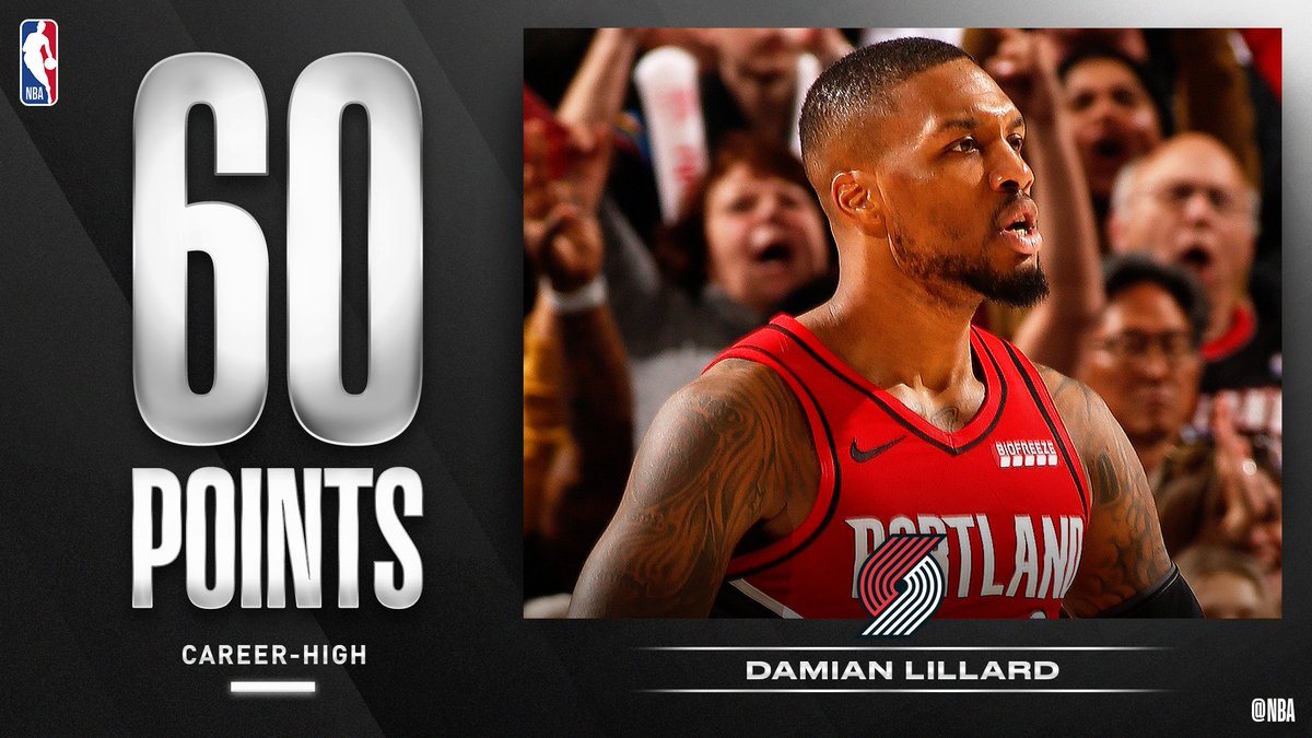 .@Dame_Lillard puts up a new career-high 60 PTS (19-33 FGM, 15-15 FTM) for the @trailblazers! #RipCity
