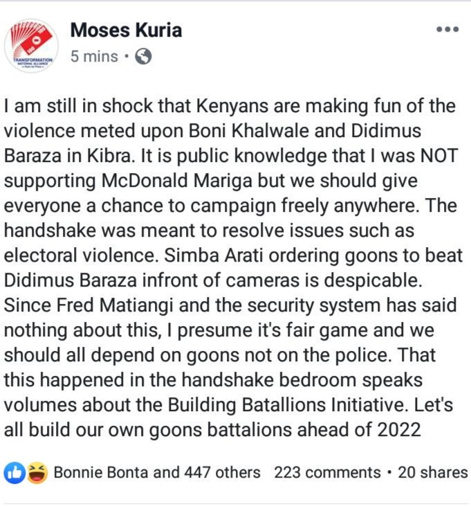 Thank you @HonMoses_Kuria for speaking the truth openly and fearless. We need such leaders in Mt Kenya and Kenya at large. What happened in #KibraByelection whereby @SimbaArati was ordering goons to beat his fellow MP Didmus  is despicable and its the real meaning of handshake.<br>http://pic.twitter.com/GF9HeIXvyI