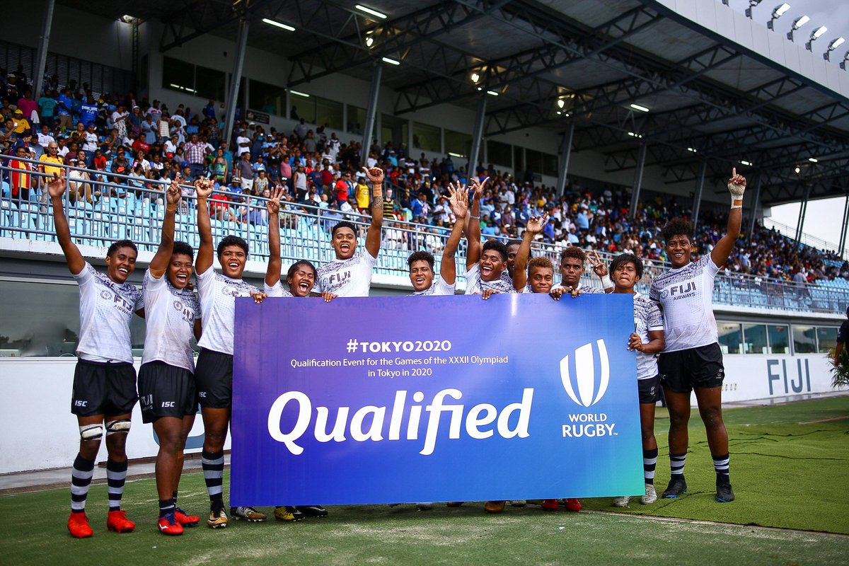 QUALIFIED| Congratulations to the @fijirugby, Fijiana 7s team, who have have qualified for the #tokyo2020 Olympics! #Oceania7s #OceaniaRugby #EqualPlayingField