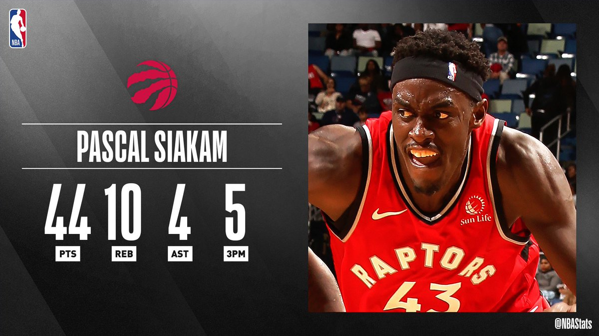 Pascal Siakam ties his career-high 44 PTS, sparking the @Raptors victory on the road! #SAPStatLineOfTheNight