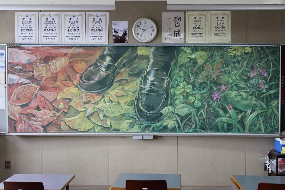 "Oksana Ivanik Art on Twitter: ""Hirotaka Hamasaki is a teacher from Japan  who paints his paintings with chalk on a school blackboard… """