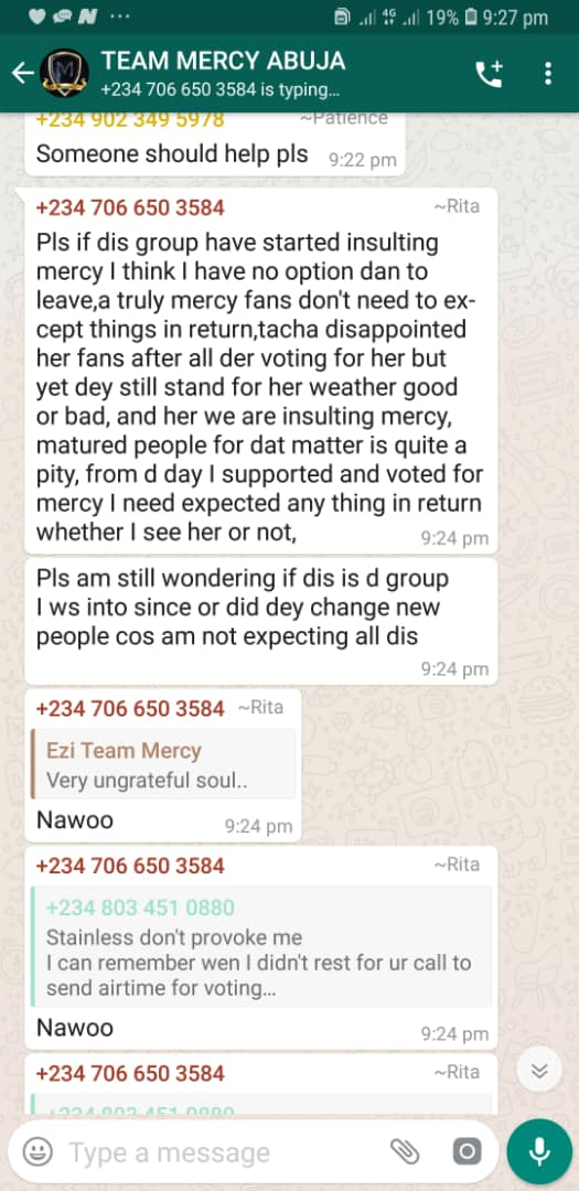 Messy begging her fans for gift today after seeing how titans showered tacha with lots of gifts yesterday .. But here is what d fans have to say...   Messy is so desperate ND ungrateful...  So dey won't buy any gift for her  #TachaHomecoming  #TachaStormsPH  #TachaVvipParty <br>http://pic.twitter.com/S05m3YBieq