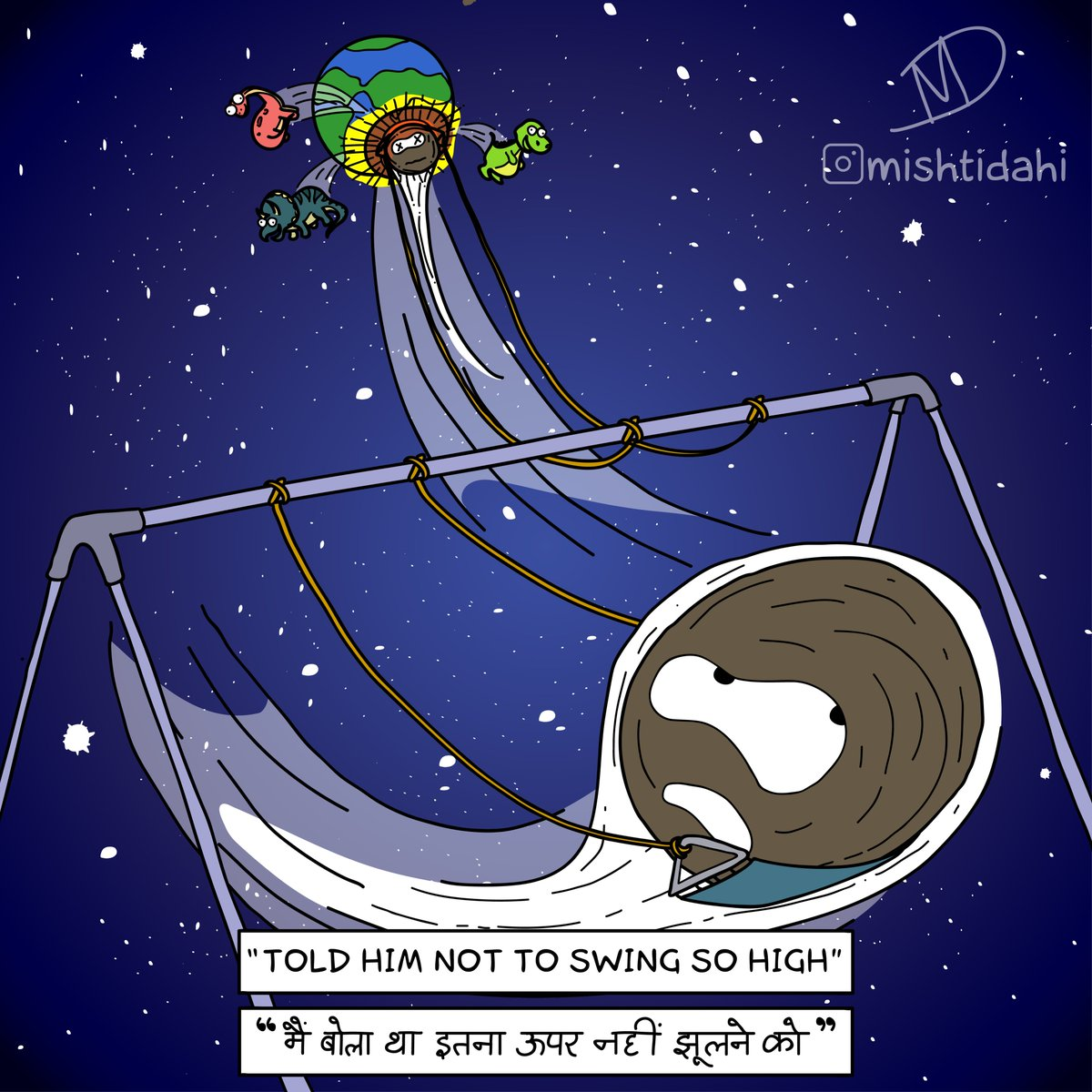 Inktober19 Day 9: SWINGing too high#cartoon #humour #inktober #inktober2019 #inktoberday9 #swing #high #comics #dinosaur #comet #meteor