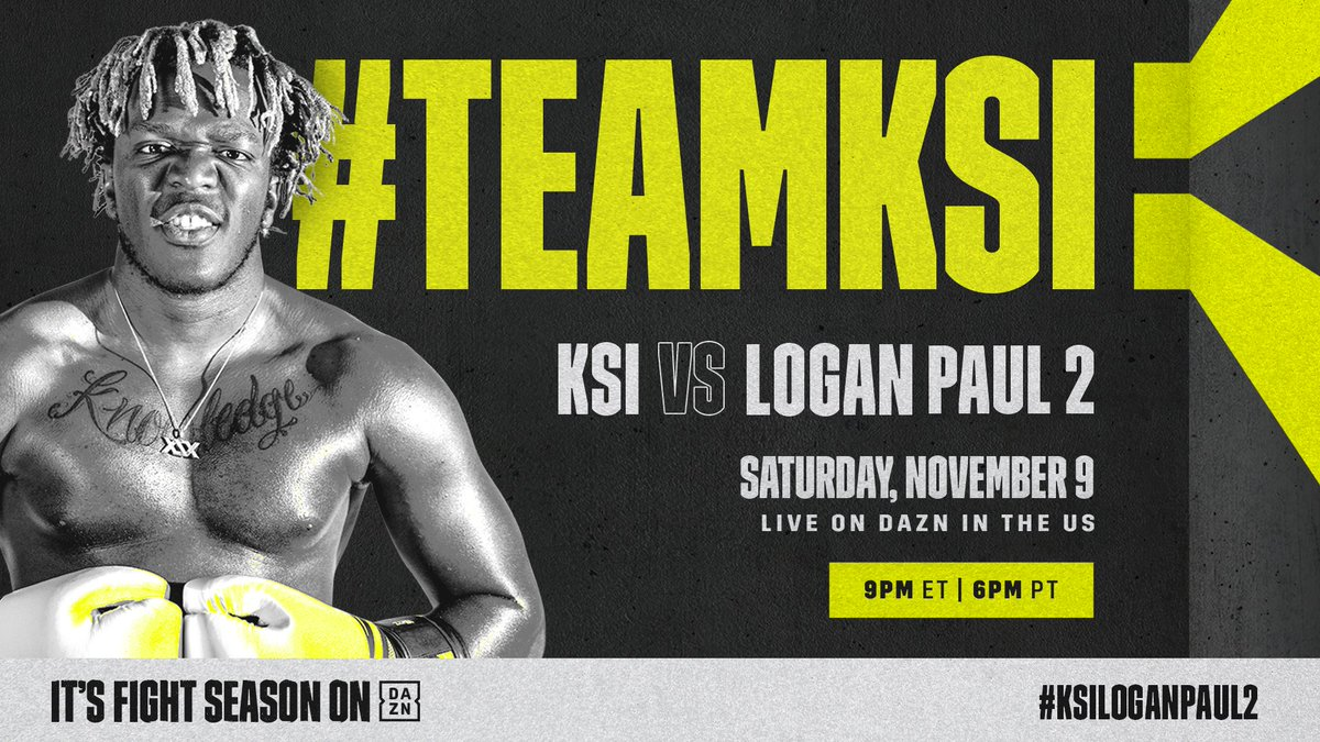 📢 #TeamKSI Stand UP 📢 RT if you are supporting @KSIOlajidebt in #KSILoganPaul2 📲
