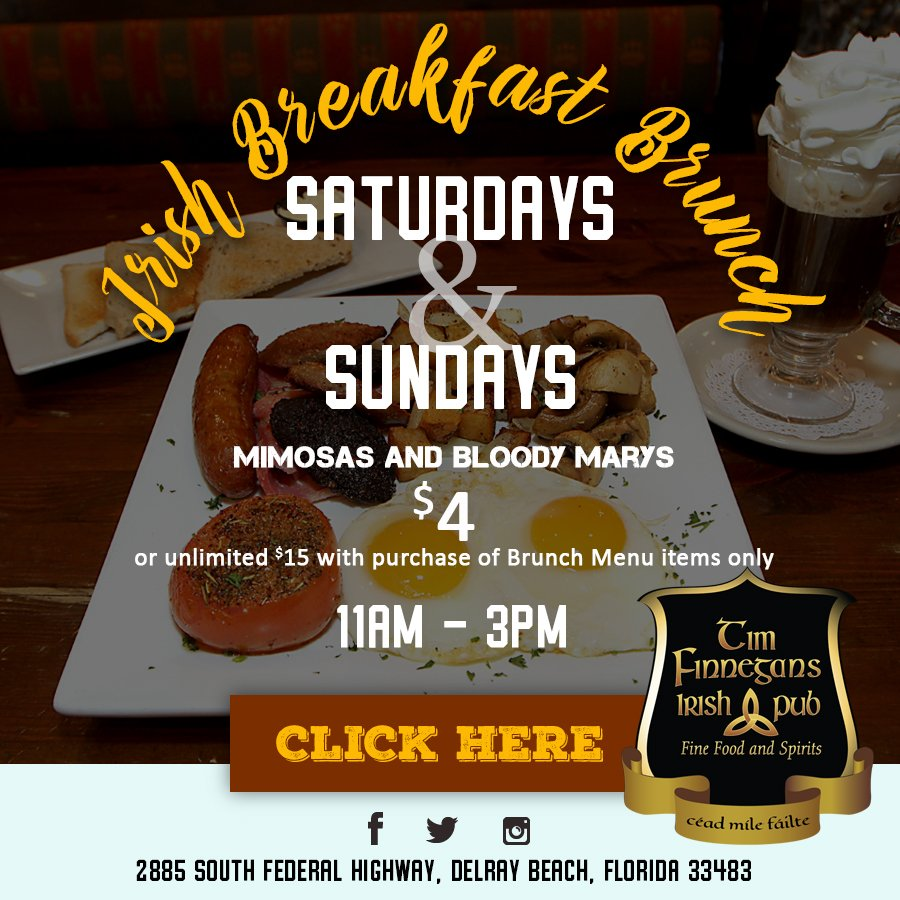 Happy Saturday! Get your hot, delicious Irish Breakfast Brunch 11am - 3pm. $4 Bloodys or Mimosas or unlimited for $15 with Brunch item purchase #WeekendBrunch #BrunchDelray  http:// ow.ly/gjwd50wV0Ap    <br>http://pic.twitter.com/39DoOIpOdh