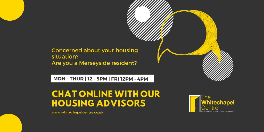 Are you concerned about your accommodation? Having problems with your landlord? Difficulties with benefits which threatens your tenancy? You can now chat to us online, every week day afternoon. Visit our website: bit.ly/TWChelp #Prevention #EndHomelessness #Liverpool
