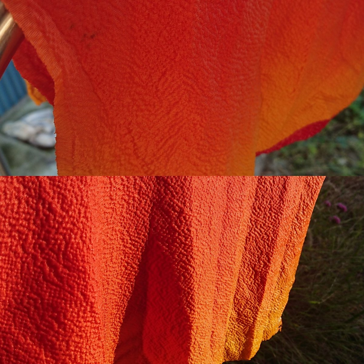染めたての #黄櫨染 光によって全然色が違う(笑) 太陽光の下の色のパワーは半端ない。 蘇芳がすぐ褪せるので、天日干しはしませんが(笑) https://t.co/fD0QViFbnw