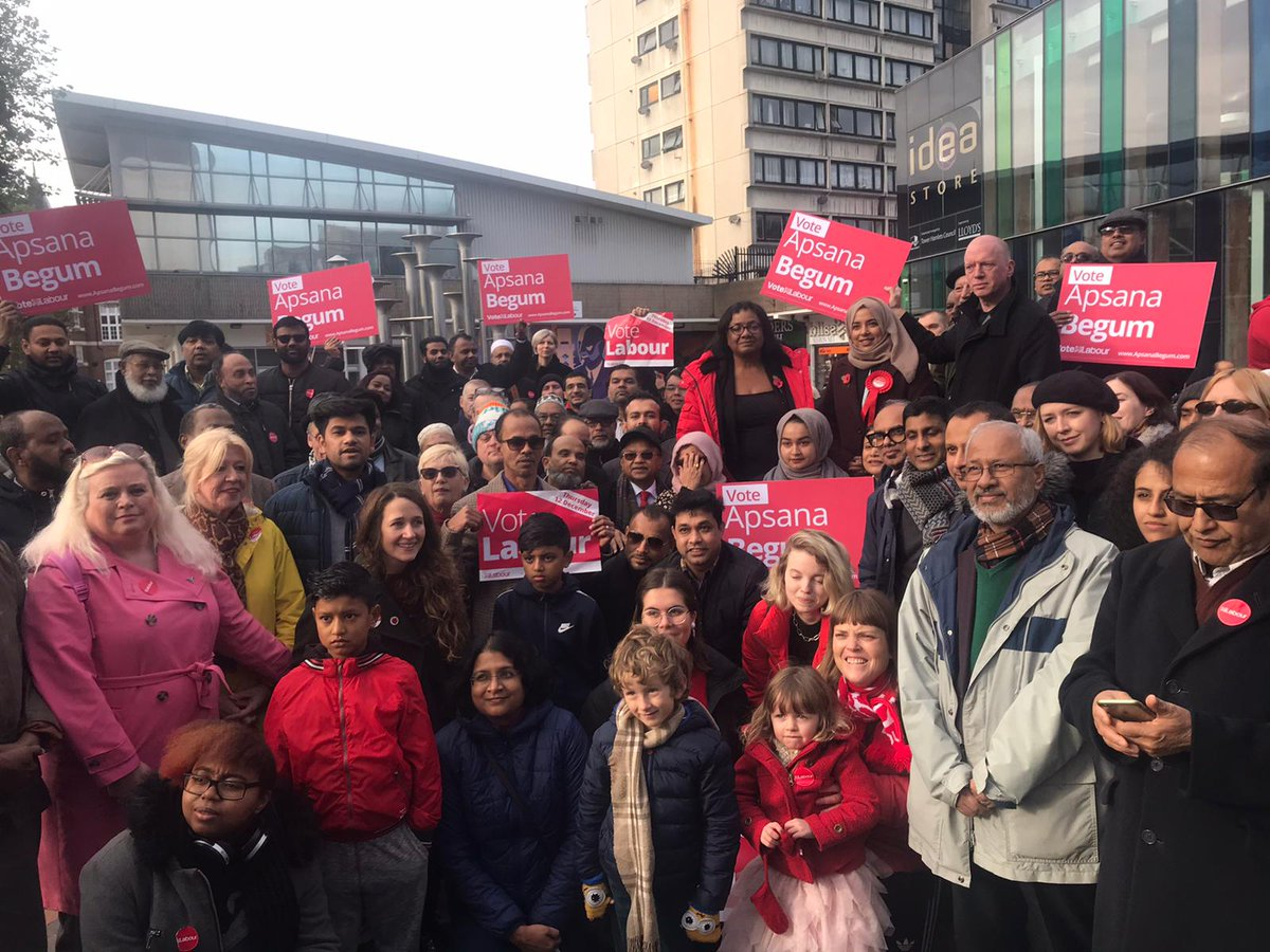 Great to help @ApsanaForPL launch her campaign in Poplar and Limehouse. So many local activists turned up in support and Apsana will make a fantastic MP led by her community.