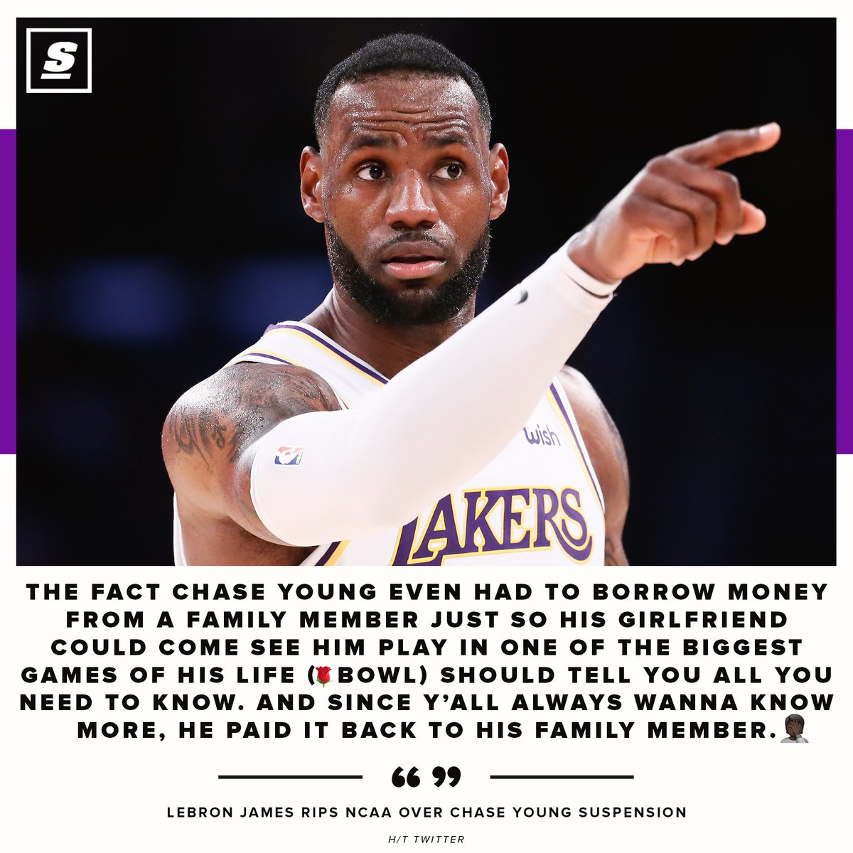 Bron weighs in on Chase Young's NCAA suspension.   <br>http://pic.twitter.com/gvfdM7meqO
