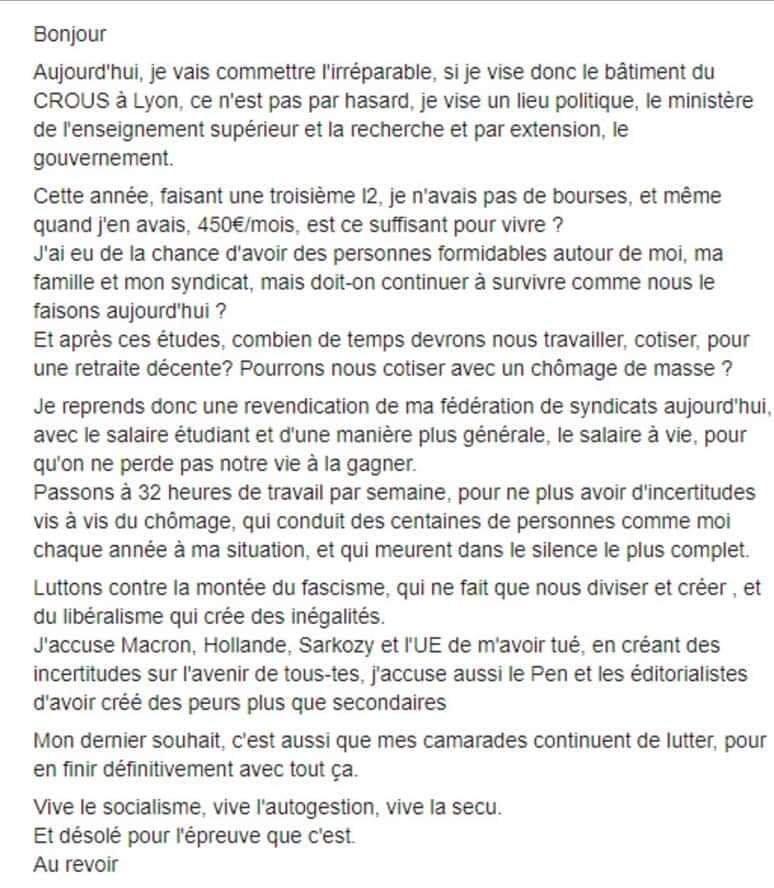 La tentative d'immolation par le feu d'un étudiant à Lyon met en lumière la précarité étudiante