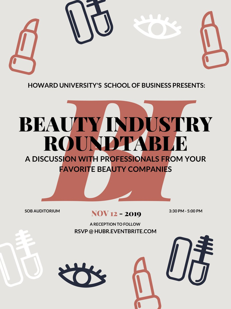 Join us on November 12, at 3:30 pm, in the @HowardHUSB  for the Beauty Industry Roundtable. The event will be a perfect opportunity to hear a discussion on the industry from actual professionals.