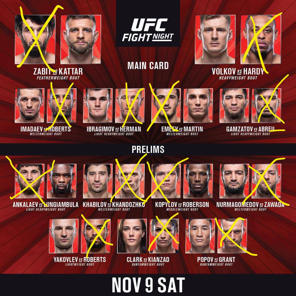 My picks for tonight's card!! #UFCMoscow #UFC