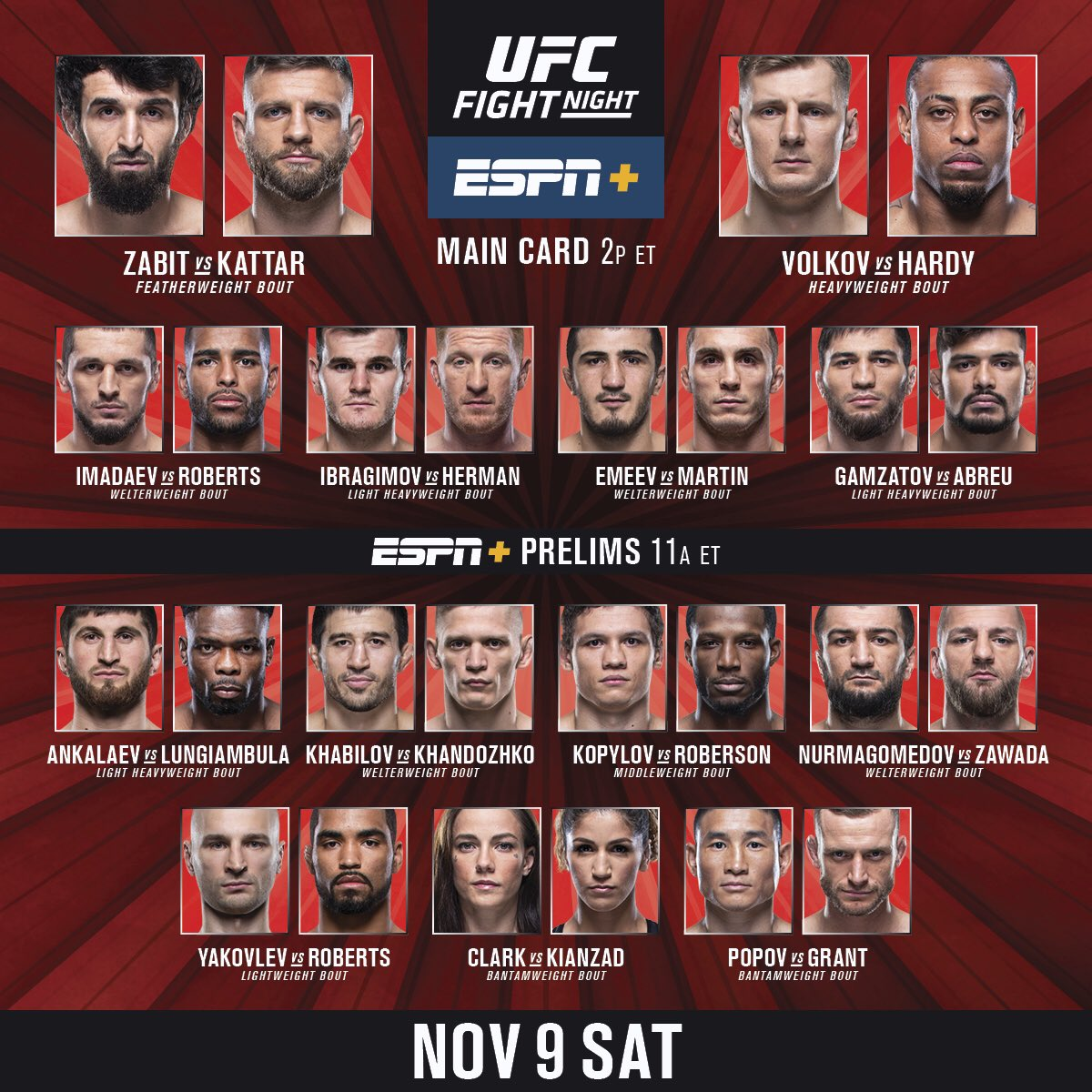 Live from Russia 🇷🇺   We get started in minutes on ESPN+. #UFCMoscow https://t.co/KdKnk88NQN