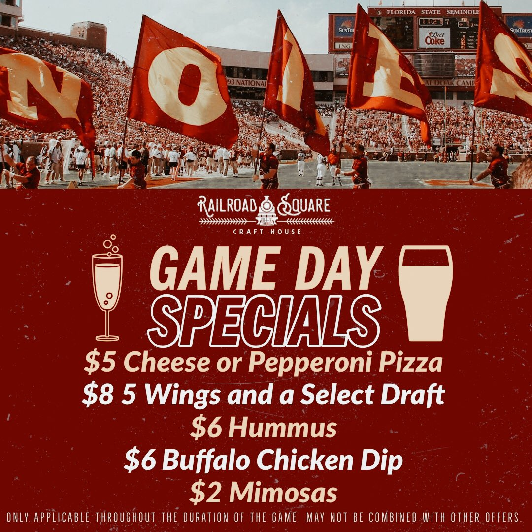 Come by the Craft House and enjoy these specials during the FSU vs Boston College game! Kick-off at noon. Go noles!!