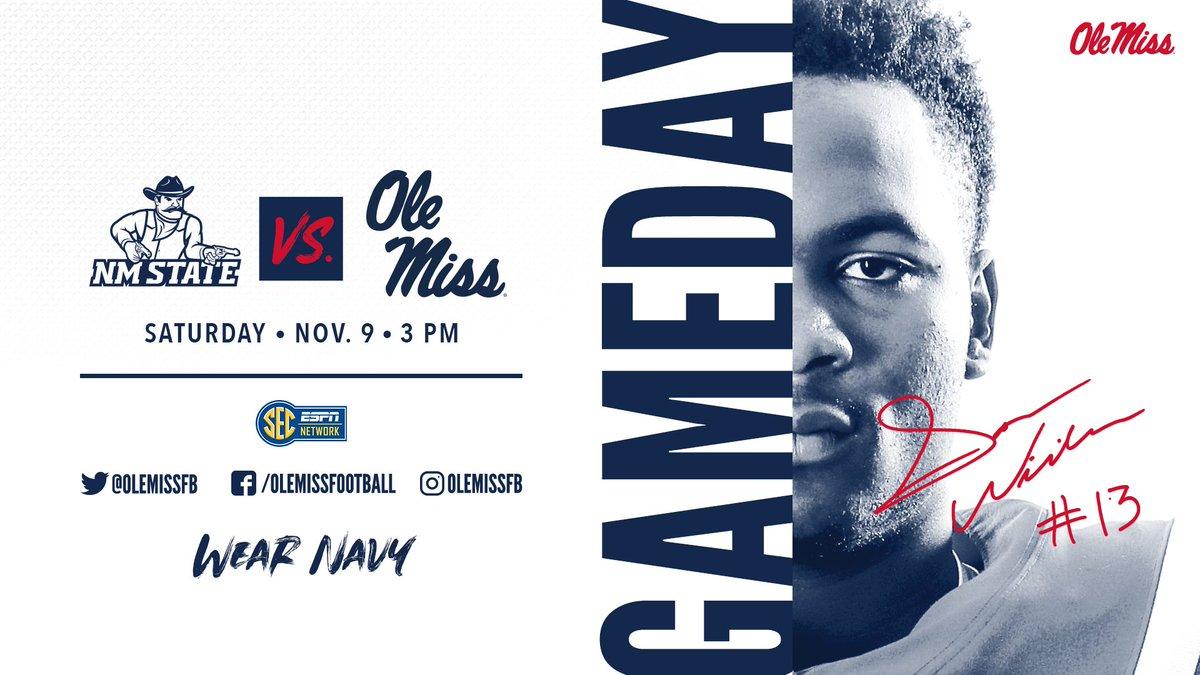 GAMEDAY! 🏈 🆚 @NMStateFootball 🕒 3 p.m. 📍 Oxford, Miss. 🏟 Vaught-Hemingway Stadium 📺 @SECNetwork 💻 rebs.us/mKiu30pRwh9 📻 rebs.us/369A30pRwhL 📊 rebs.us/toBY30pRwhX