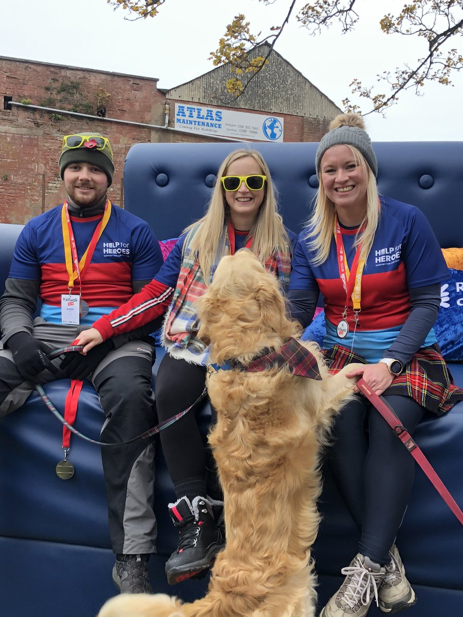 Lovely morning taking part in the popup event @thekiltwalk in #Dumfries with Megan, Natalie, @Dan_Small92 and Innis 🏅 we are fundraising for @HelpforHeroes   #kiltwalk #helpforheroes #Armistice2019