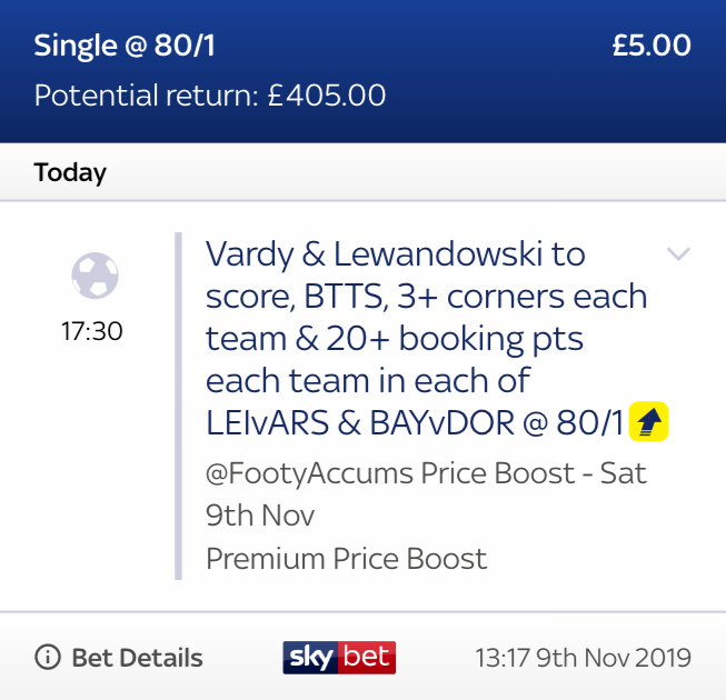 VARDY AND LEWANDOWSKI START! 🙌 Still time to back tonights late boost! Leicester vs Arsenal Bayern Munich vs Dortmund 80/1 exclusive link can be found HERE >>> footy.ac/LateBoost0911 18+