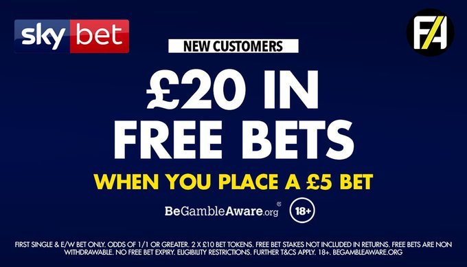 This boost is exclusive to SkyBet! Bet £5 & get £20 in FREE BETS when you join here >>> footy.ac/SkyBet520 New Customer Offer T&C's Apply 18+ begambleaware
