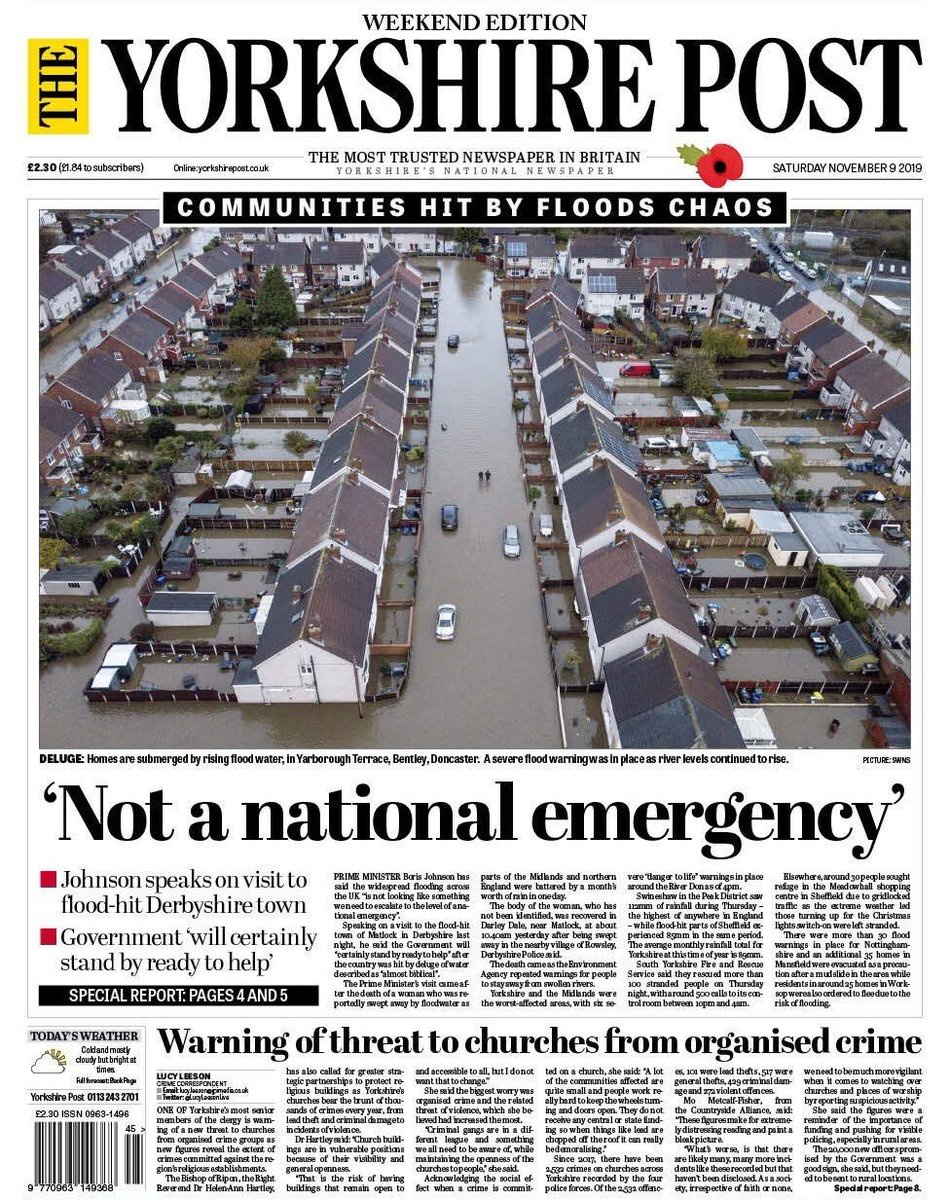 Boris Johnson is wrong. This is a national emergency. Emergency funds should be released immediately to support families in need and all those affected by the flooding.