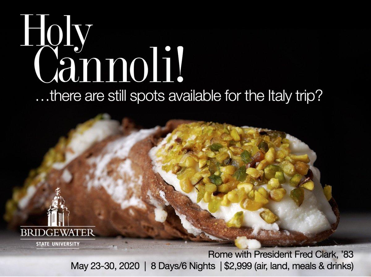 Bellissimo! Visit Rome, Naples, Pompeii, Positano, Amalfi & Capri, to name a few. Email travel@bridgew.edu for more info. Alumni, family and friends welcome. #BridgewaterStateAlumni #HolyCannoli #Bellissimo #RomeWithFred<br>http://pic.twitter.com/JthExhNCdy