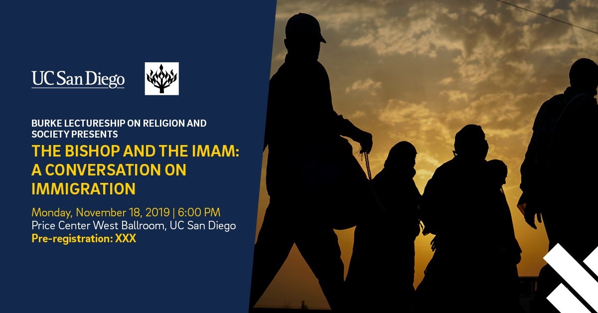 Around the world, people are fleeing their homes because of war, violence, natural disasters and #climatechange. Join Bishop Robert McElroy and Imam Taha Hassane to speak about a path forward based on the wisdom of their traditions on November 18 at 6 PM. bit.ly/33pQY50