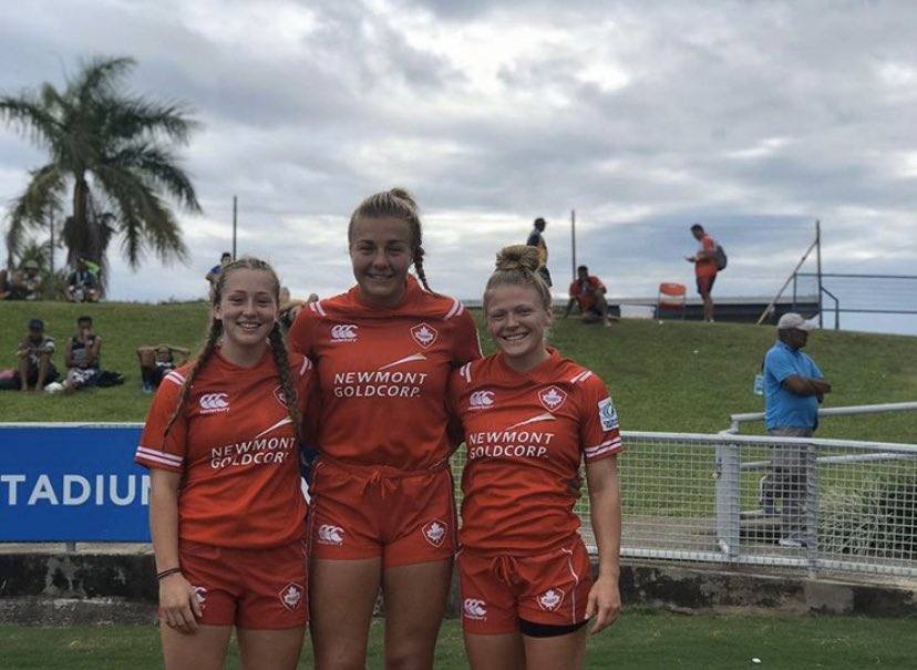 First #RCMapleLeafs tour for Ella O'Regan, Courtney Holtkamp, and Emily Samek! Another step closer to #Tokyo2020 🏉🍁 #RugbyCA #Oceania7s