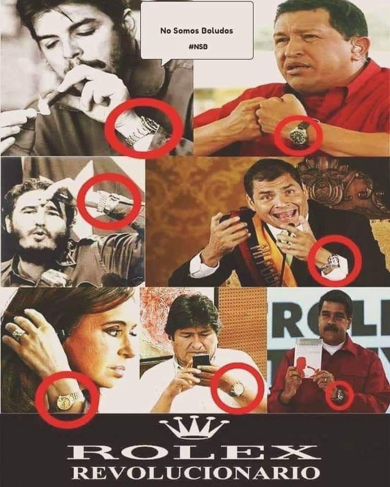 """DESPIERTA Ec on Twitter: """"#EvoNoEstásSolo usando los rolex de miles de  dólares. También tus compañeros socialistas usan descaradamente ese  producto exclusivo del """"Imperio que odian"""": - CHE Guevara - HUGO Chávez -"""