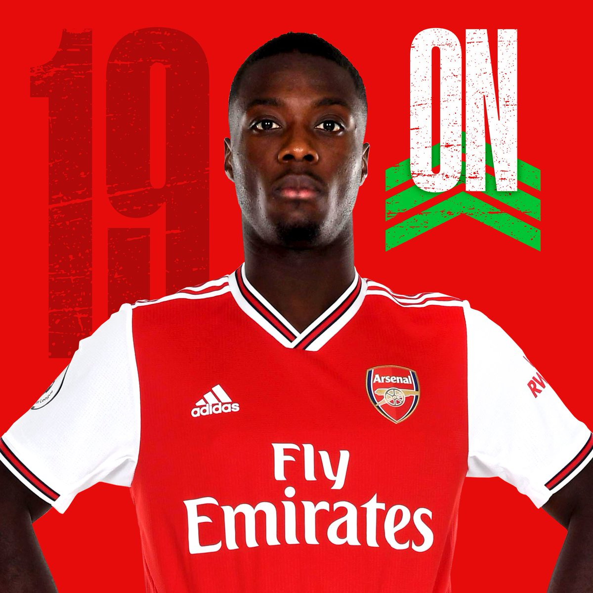 Our first substitution of the evening...🔛 Nicolas Pepe↩️ Rob Holding🦊 2-0 🟡 (76)#LEIARS